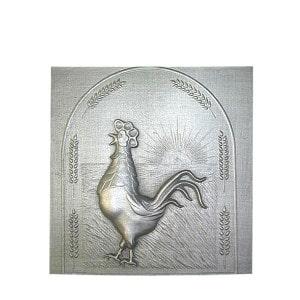 Plaque fonte cheminée décorée Le coq 59 x 60cm