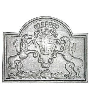 Plaque fonte cheminée ancienne lion de juziers 2 , 59 x 48 cm
