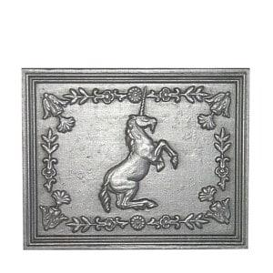 Plaque fonte cheminée ancienne Licorne ornée 50 x 40 cm
