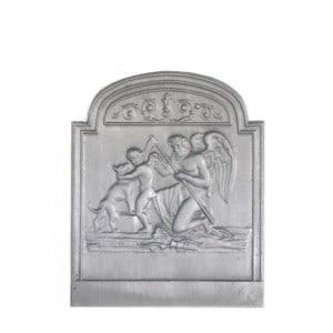 Plaque fonte cheminée ancienne Le temps PM 46 x 56 cm