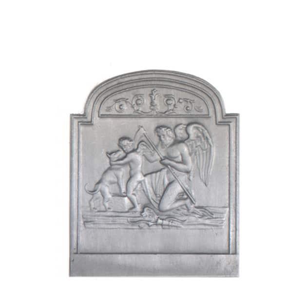 Plaque fonte cheminée décorée Le temps PM 46 x 56 cm