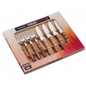 Set 8 pièces couteaux/fourchettes barbecue Tramontina marron