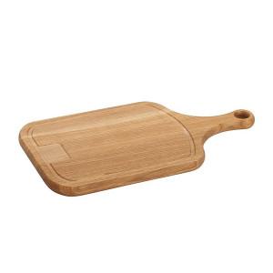 Planche à découper Wood for Food en chêne avec rigole et manche 45 x 25cm