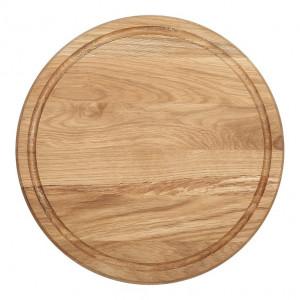 Planche à pizza épaisse Wood for Food en chêne avec rigole Diam 30cm