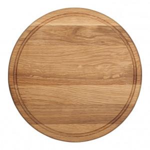 Planche à pizza épaisse Wood for Food en chêne avec rigole Diam 25cm