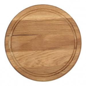 Planche à pizza épaisse Wood for Food en chêne avec rigole Diam 35cm