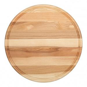Planche à pizza épaisse Wood for Food en chêne avec rigole Diam 45cm