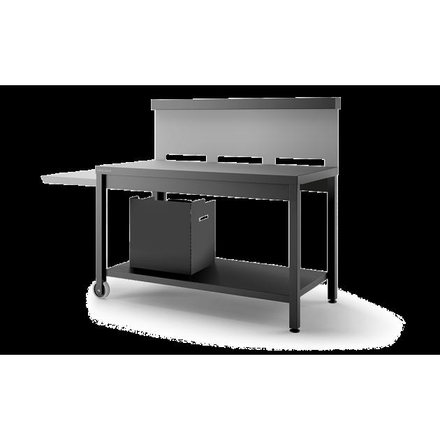 Table Roulante Crédence Acier Noir et Gris Mat pour Plancha Forge Adour