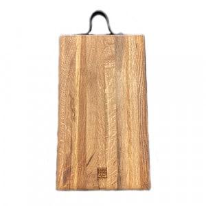 Planche à découper à rigole billot 35x20x5 en chêne et cuir