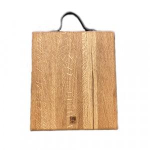 Planche à découper a rigole billot 35x30x5 en chêne et cuir