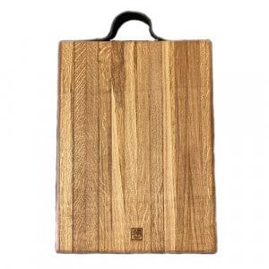 Planche à découper a rigole billot 50x30x5 en chêne et cuir