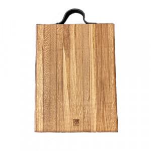 Planche à découper à rigole billot 35x40x5 en chêne et cuir