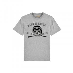 T-shirt Barbecue Republic Gris Biker Noir XL