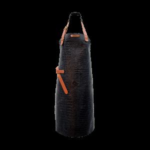 Tablier en cuir Xapron Caiman noir avec couture