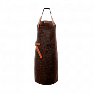 Tablier en cuir Xapron Caiman marron avec couture