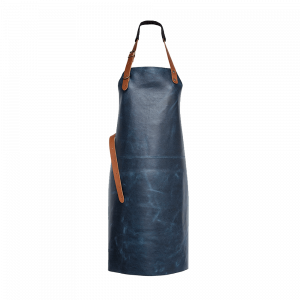 Tablier en cuir Xapron Tennessee bleu avec couture