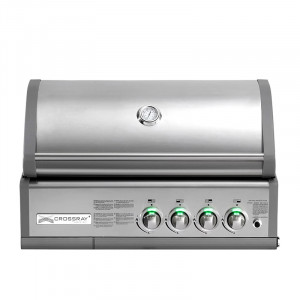 Barbecue gaz à poser ou encastrable Grandhall Heatstrip Crossray 4B Inox 4 brûleurs