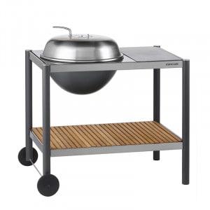 Barbecue rond charbon 54 Dancook 1501 inox sur chariot