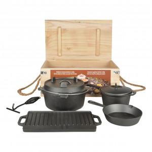 Set à cuisiner en fonte 7 pièces Feu de Camp