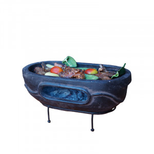 Barbecue de table Mexico Trade Center Aztec ovale 59 x 33 cm marron