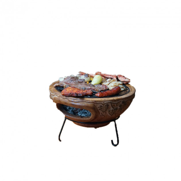 Barbecue de table Mexico Trade Center Aztec 44 cm sur base rouge