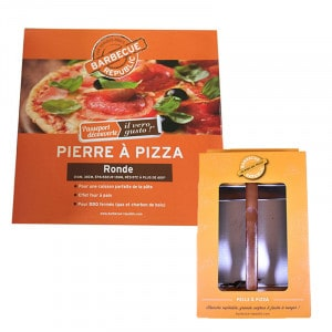 Set pierre à pizza ronde et pelle Barbecue Republic