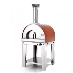 Four à pizza gaz Fontana Margherita rouge sur chariot
