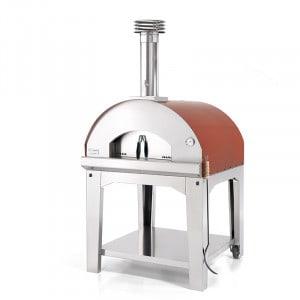 Four à pizza bois Fontana Marinara rouge sur chariot