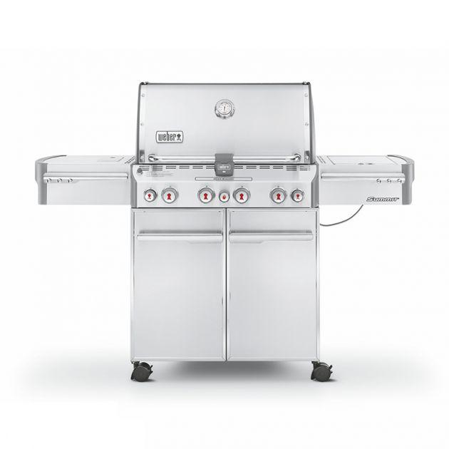 Barbecue gaz Weber Summit S-470 GBS Inox 4 brûleurs + 1 latéral + 1 rôtissoire