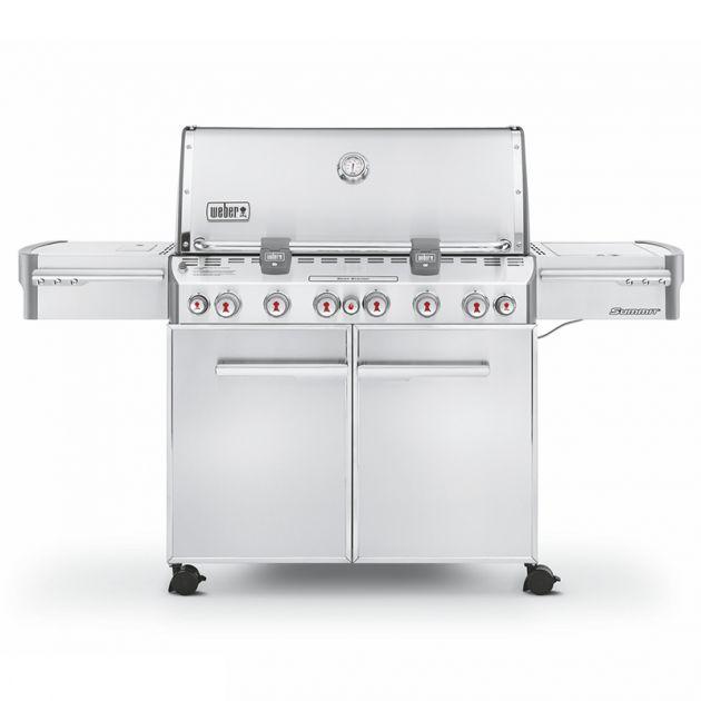 Barbecue gaz Weber Summit S-670 GBS Inox 6 brûleurs + 1 latéral + 1 rôtissoire