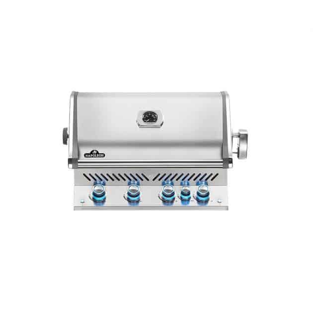 Barbecue gaz naturel encastrable Napoléon Prestige Pro 500 Inox 4 brûleurs + 1 latéral + 1 rôtissoire