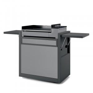 Plancha gaz fonte émaillée Premium 60 FORGE ADOUR acier gris 2 brûleurs  58.5 x 40.5  sur chariot acier gris
