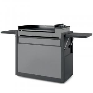 Plancha gaz fonte émaillée Premium 75 FORGE ADOUR acier gris 3 brûleurs 73.5 x 40.5 sur chariot acier gris