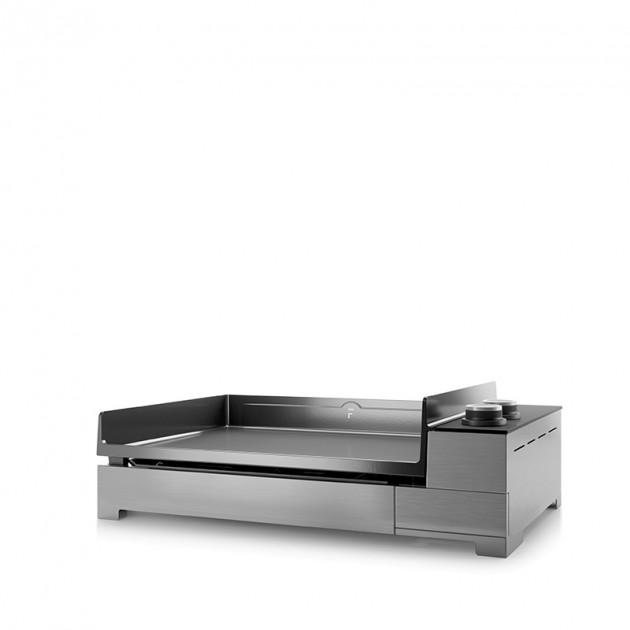 Plancha électrique fonte émaillée Forge Adour Premium 60 inox 2 feux 60X42