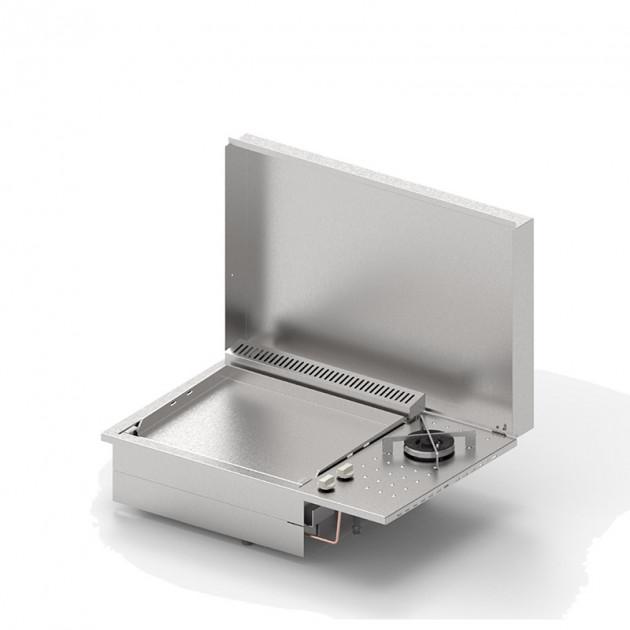 PLANCHA GAZ PLANET INOX 2 FEUX ENCASTRABLE 55 LISSE AVEC FEUX DUAL + CO