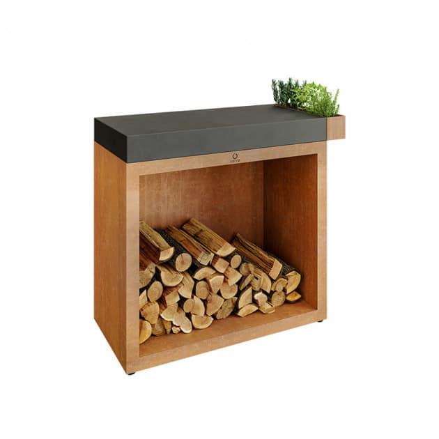 Rangement à bois Ofyr Corten billot céramique 90