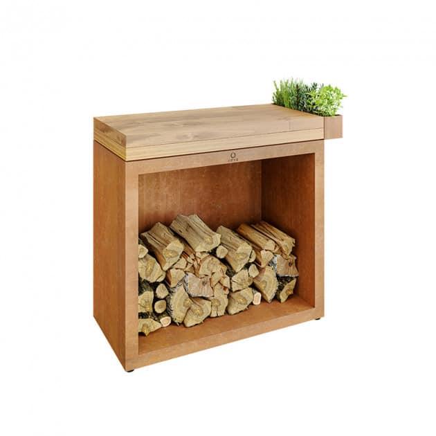 Rangement à bois sous plan de travail Ofyr corten bois