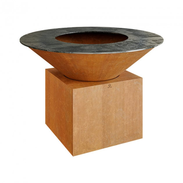 Braséro Ofyr XL Plancha acier cortène pied 50 cm
