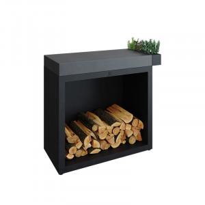 Rangement à bois sous plan de travail Ofyr 45-90-88 acier corten céramique