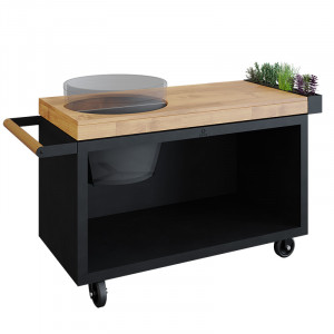 Table Ofyr Pro pour Big Green Egg black bois teck