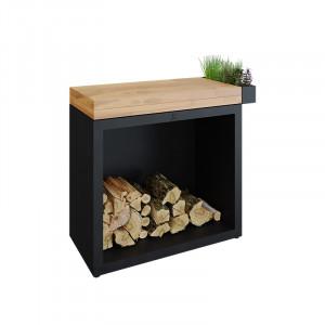 Rangement bois sous plan de travail Ofyr Black 90 bois de teck