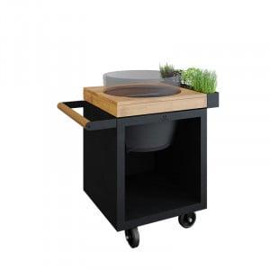Table Ofyr Pro 65 Black / Bois de teck pour Big Green Egg