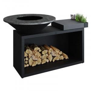 Pack Promo Braséro plancha à bois 100 cm Ofyr Island 100 Black billot céramique