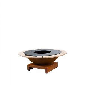 Brasero plancha acier corten Quoco Basso medium Ø84 x h50 cm