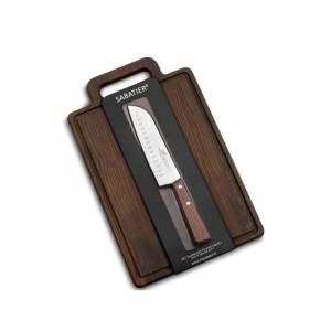 Set Sabatier planche à découper exotique + couteau santoku 18 cm
