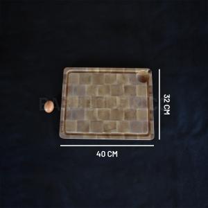 Billot avec rigole en bois debout de charme 40 x 32 cm