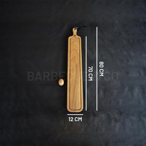 Planche à découper avec rigole en chêne massif 12 x 70 cm