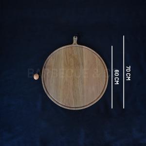 Planche à découper ronde avec rigole en chêne massif 60 cm